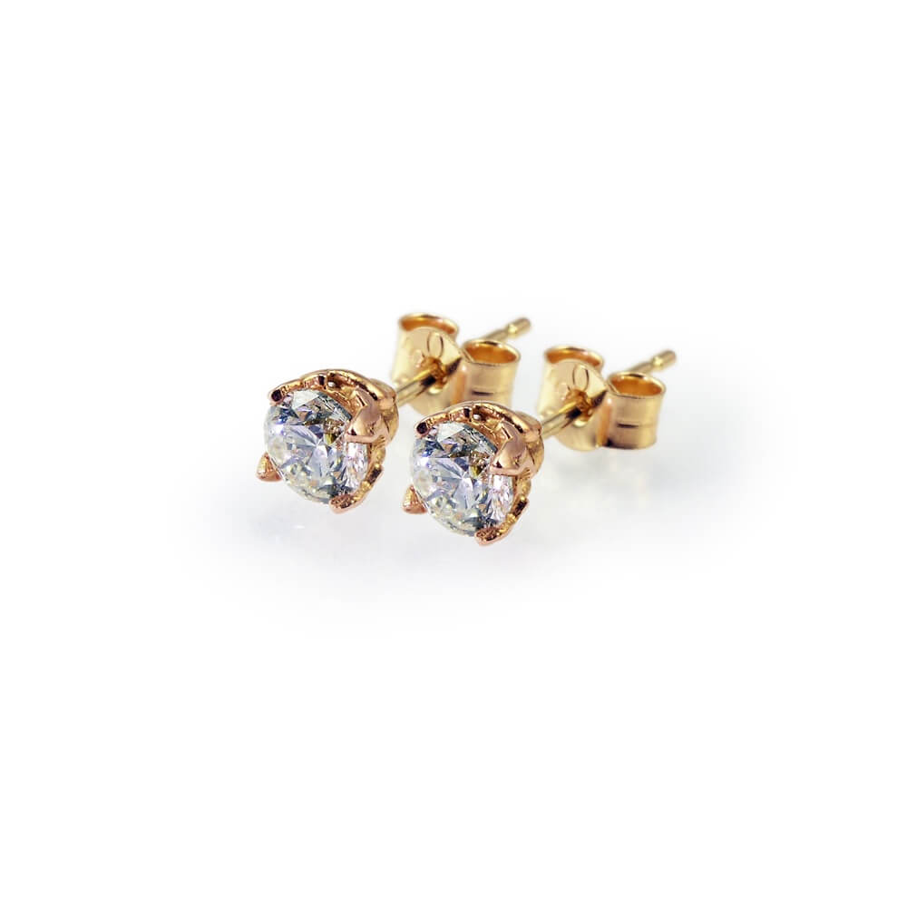 18ct Gold Brilliant Cut Diamond Signature Stud Earrings