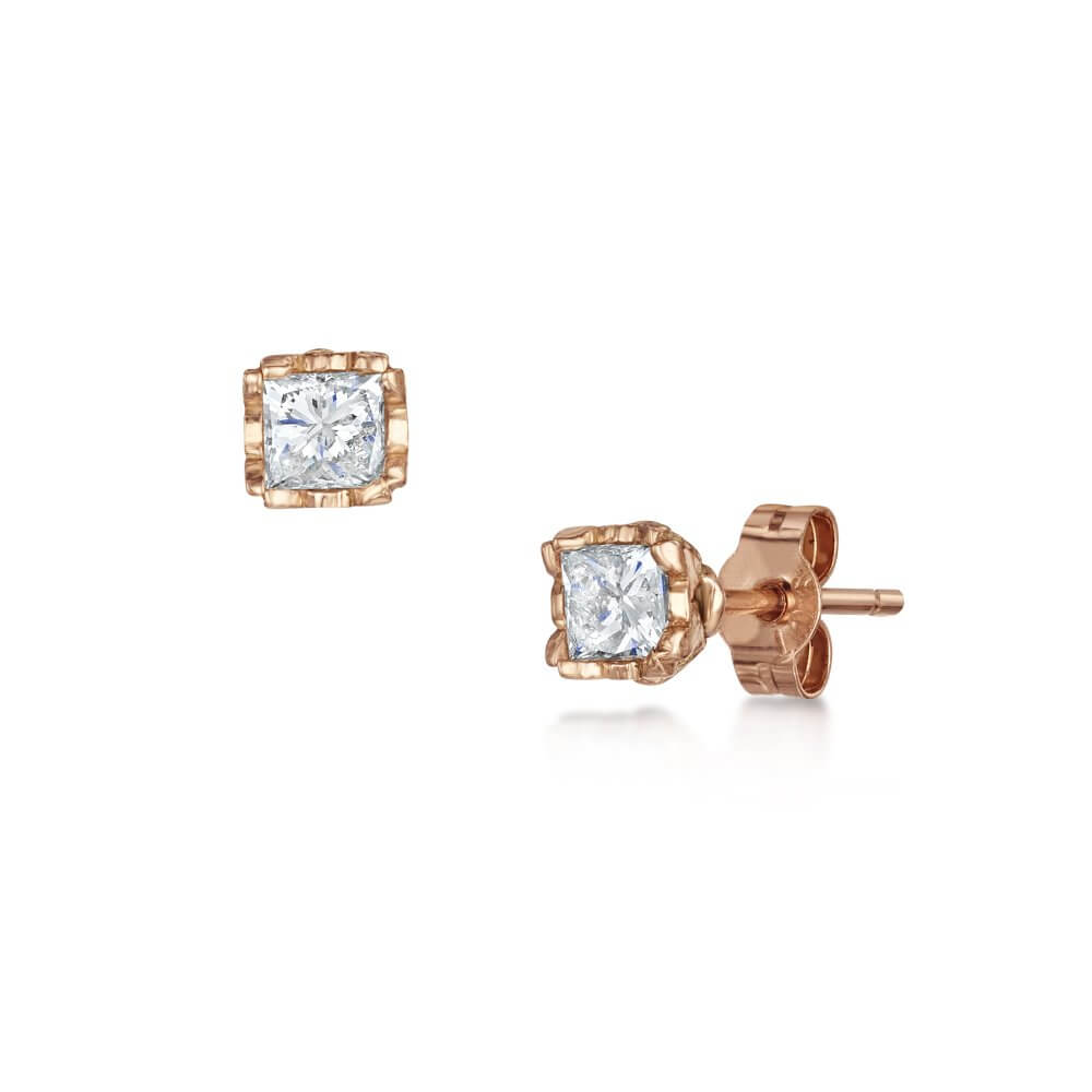 18ct Gold Princess Cut Diamond Signature Stud Earrings