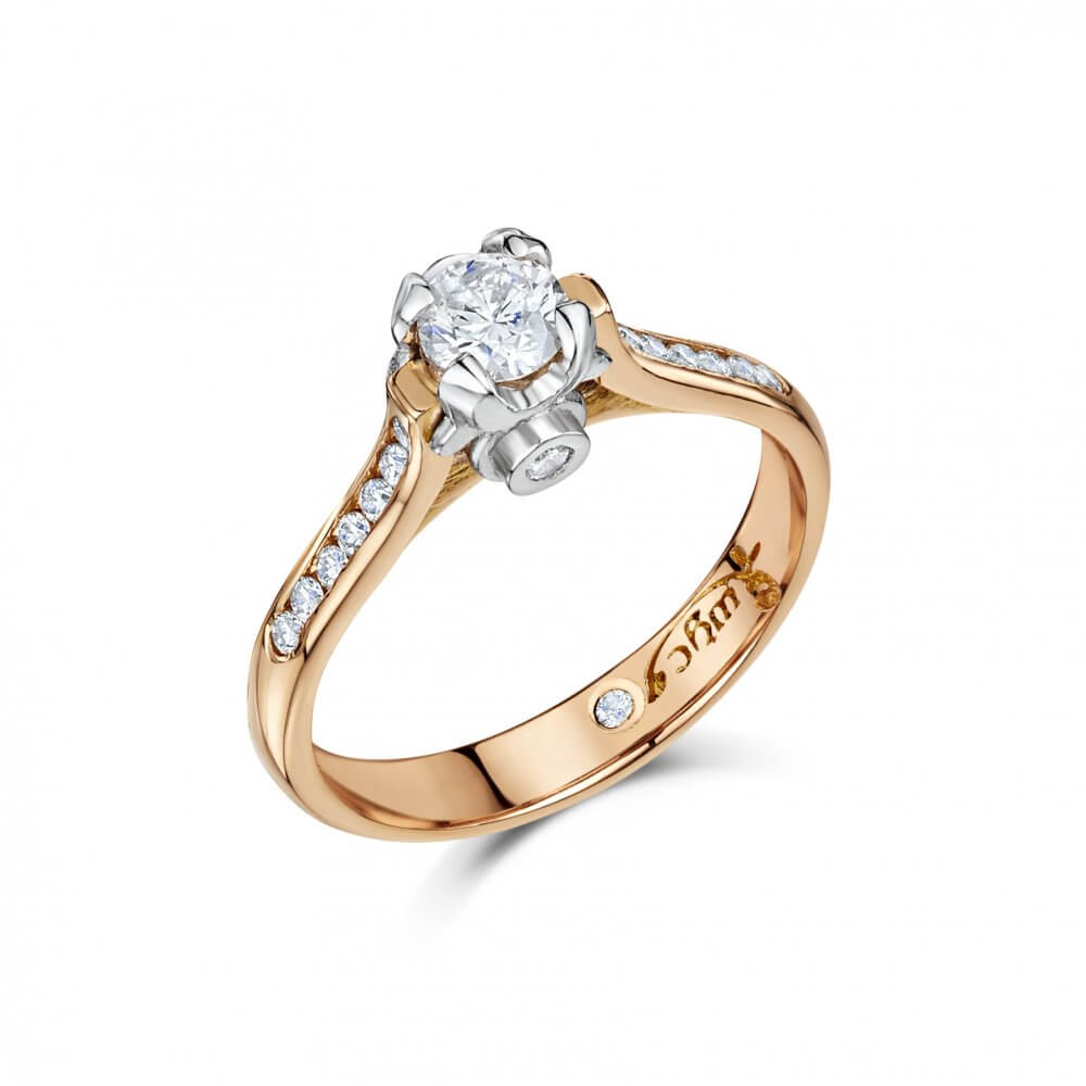 18ct Rose Gold Round Brilliant Cut Diamond Ivy Engagement Ring