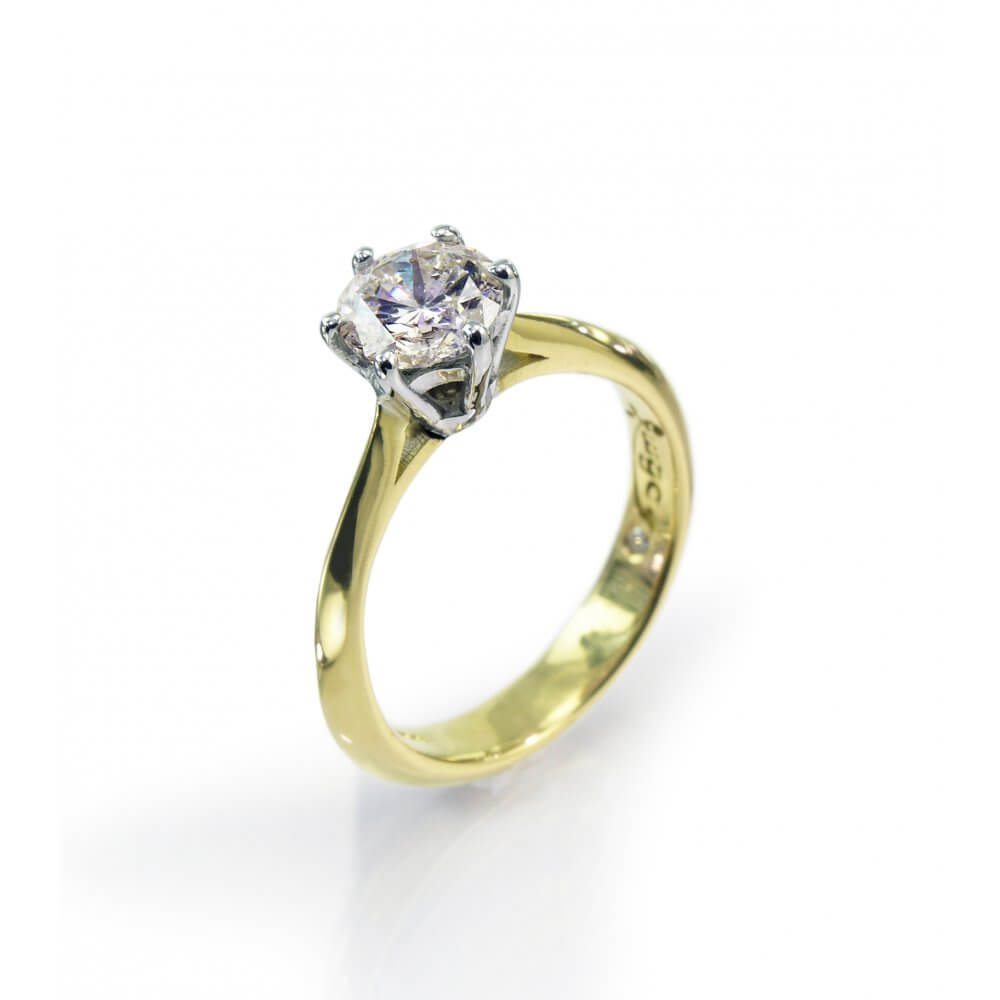 18ct Yellow Gold Classic 1ct Diamond Engagement Ring
