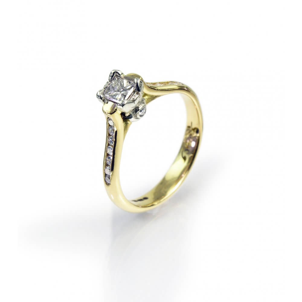 18ct Yellow Gold Princess Cut Diamond Ivy Engagement Ring