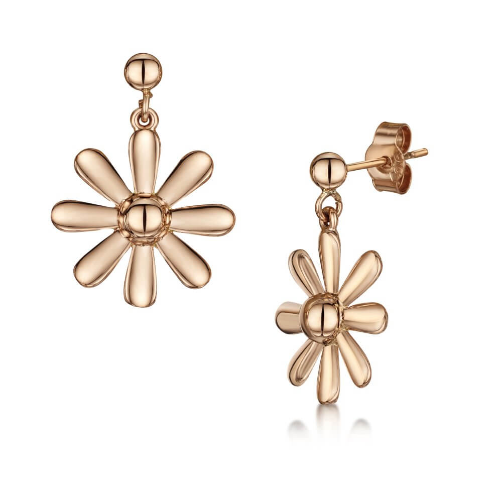 9ct Rose Gold Celtic Daisy Earrings