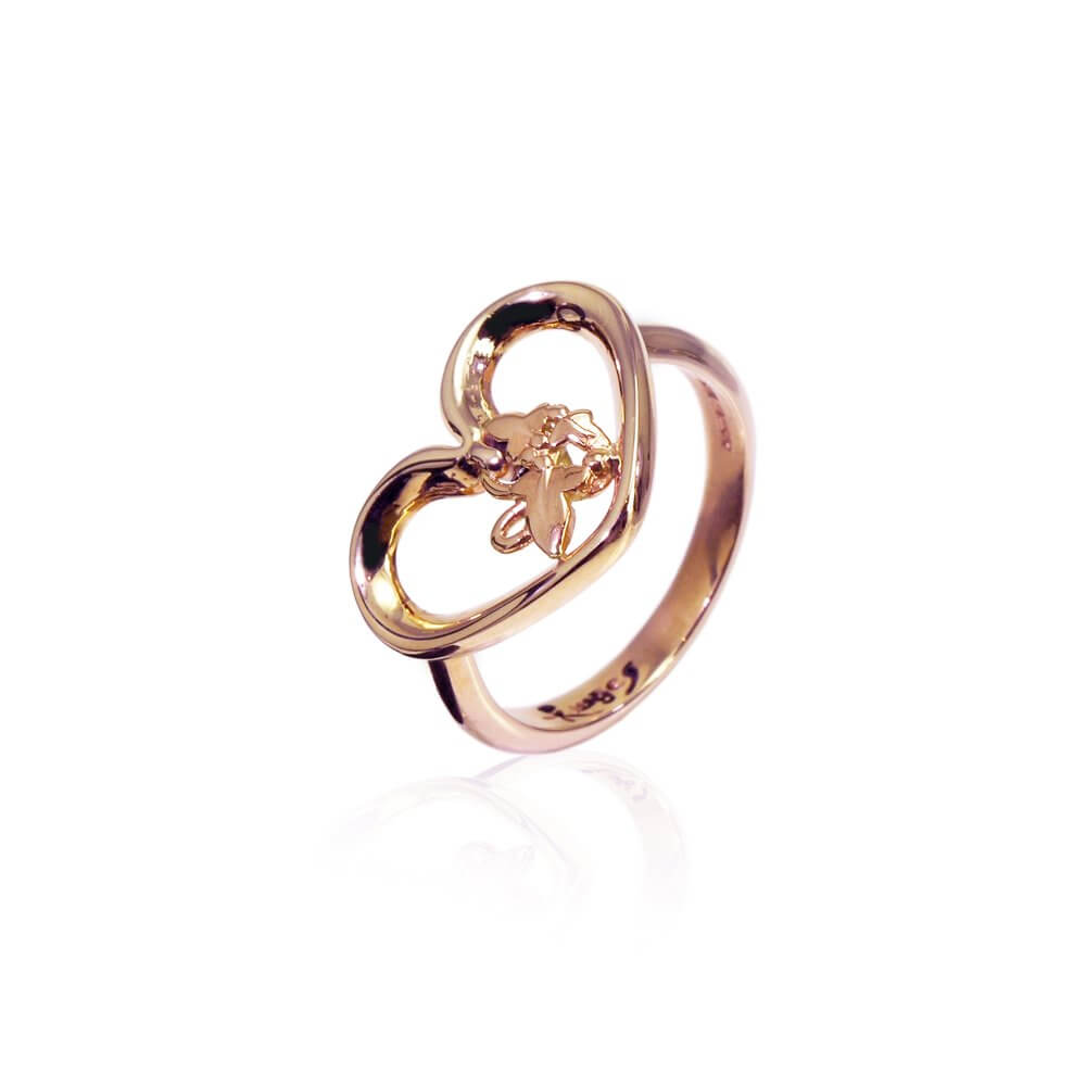 9ct Rose Gold Open Heart Ivy Ring
