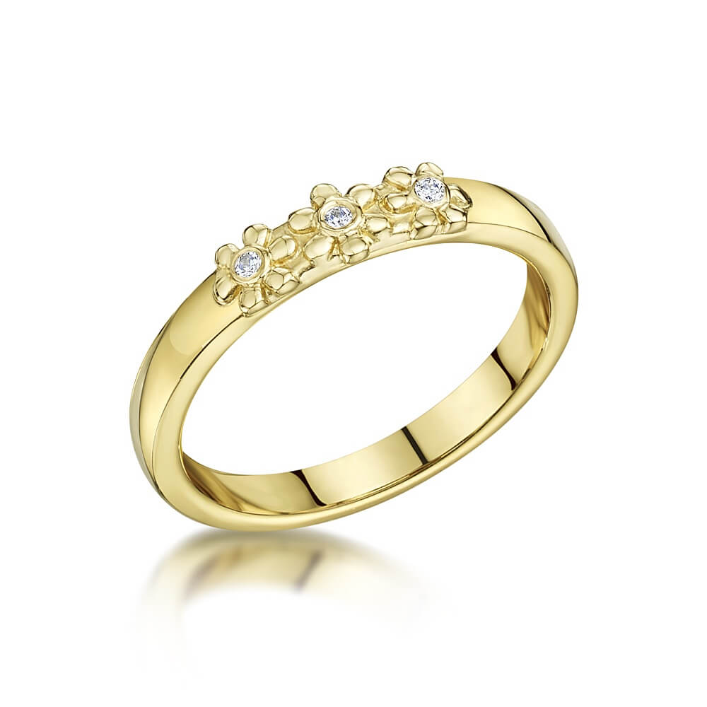 9ct Yellow Gold Diamond Set Daisy Trilogy Ring