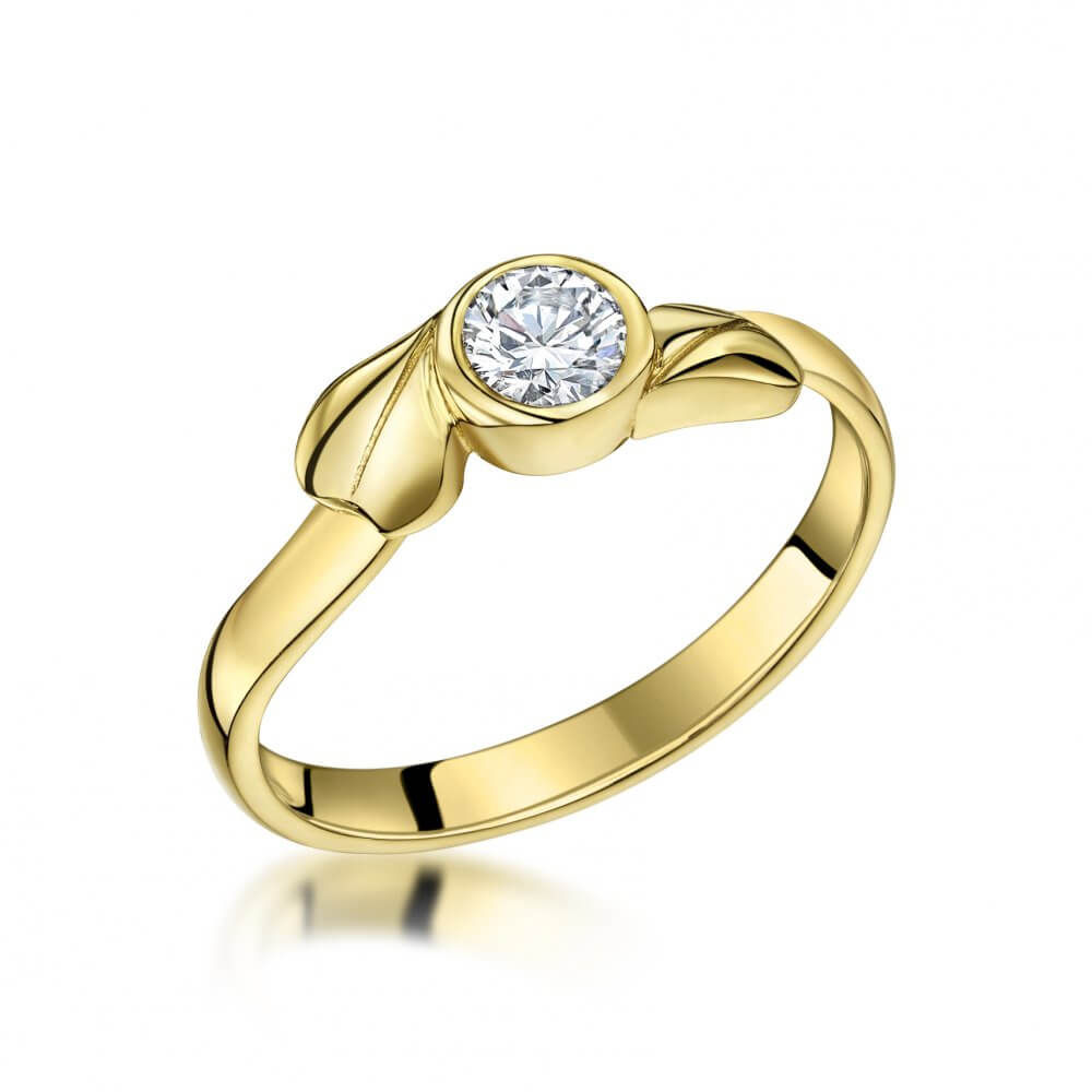 9ct Yellow Gold Ivy Twist Diamond Solitaire Ring