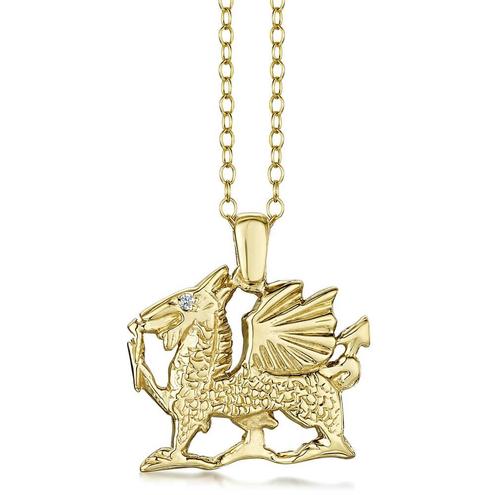 9ct Yellow Gold Welsh Dragon Pendant With Diamond Eye