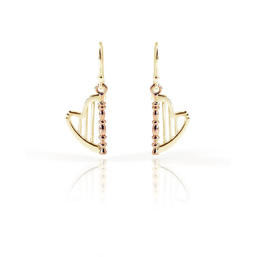 9ct Yellow & Rose Gold Celtic Harp Earrings