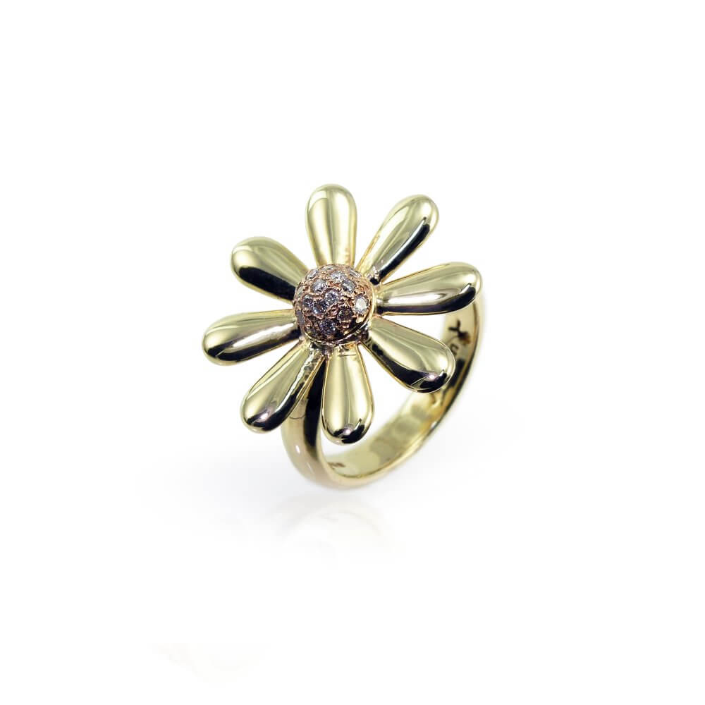 9ct Yellow & Rose Gold Diamond Set Celtic Daisy Ring