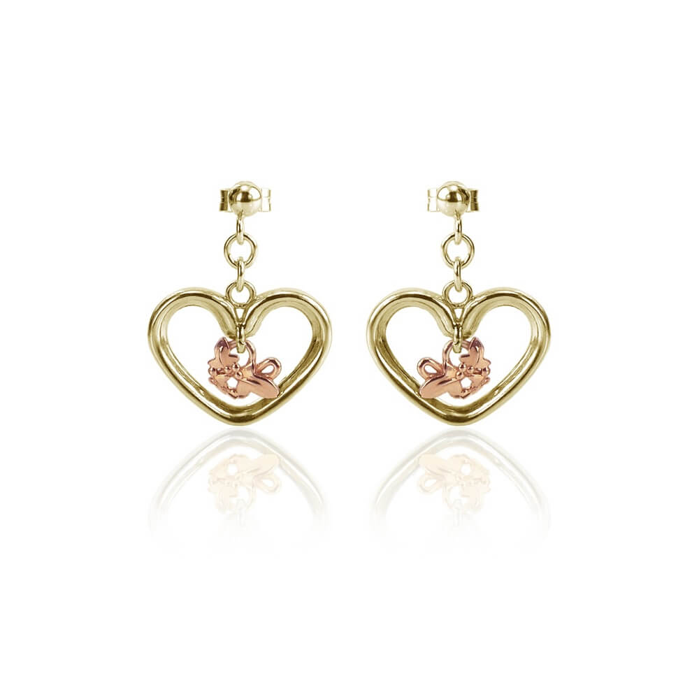 9ct Yellow & Rose Gold Open Heart Ivy Earrings