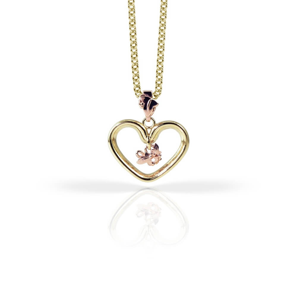 9ct Yellow & Rose Gold Open Heart Ivy Pendant