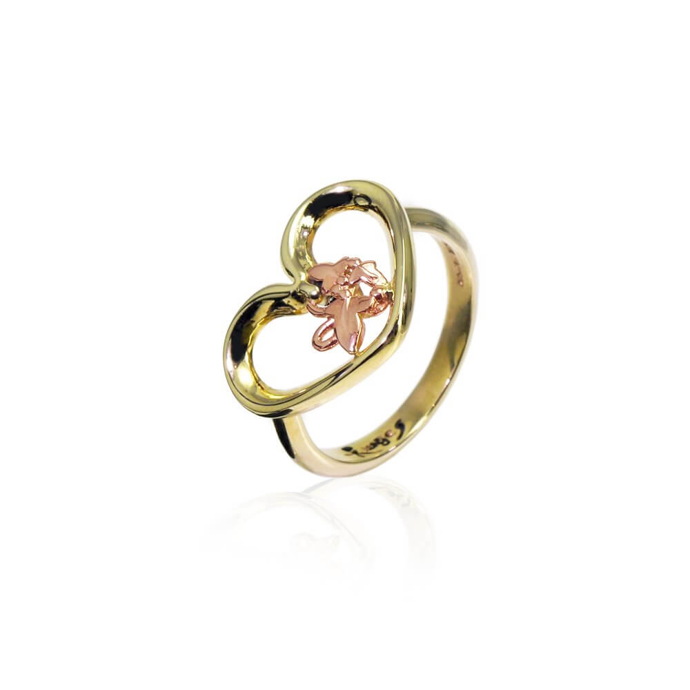 9ct Yellow & Rose Gold Open Heart Ivy Ring