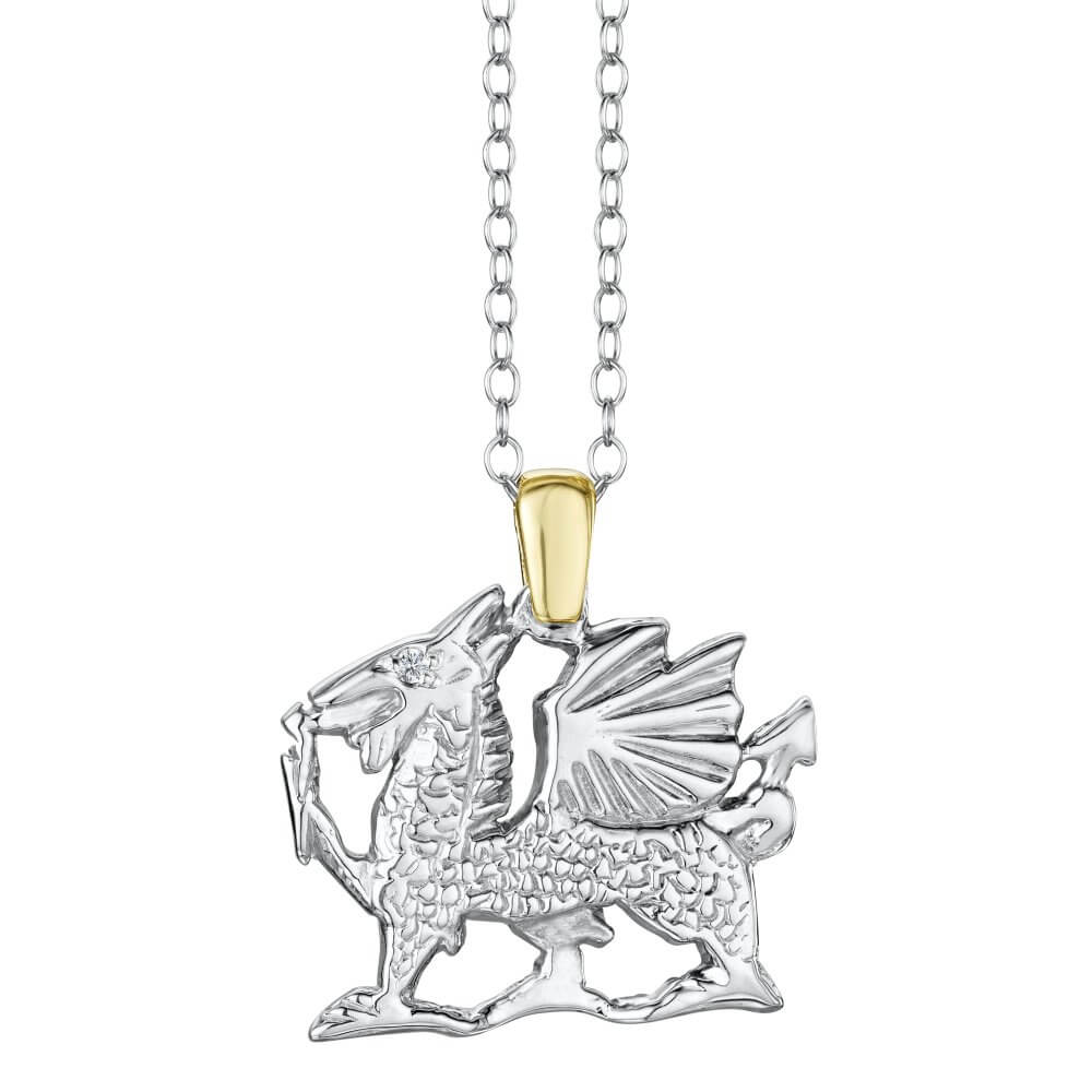Silver & 9ct Gold Welsh Dragon Pendant With Diamond Eye