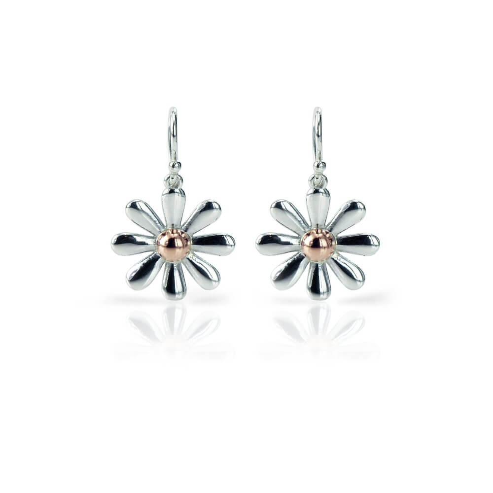 Silver & 9ct Rose Gold Celtic Daisy Earrings