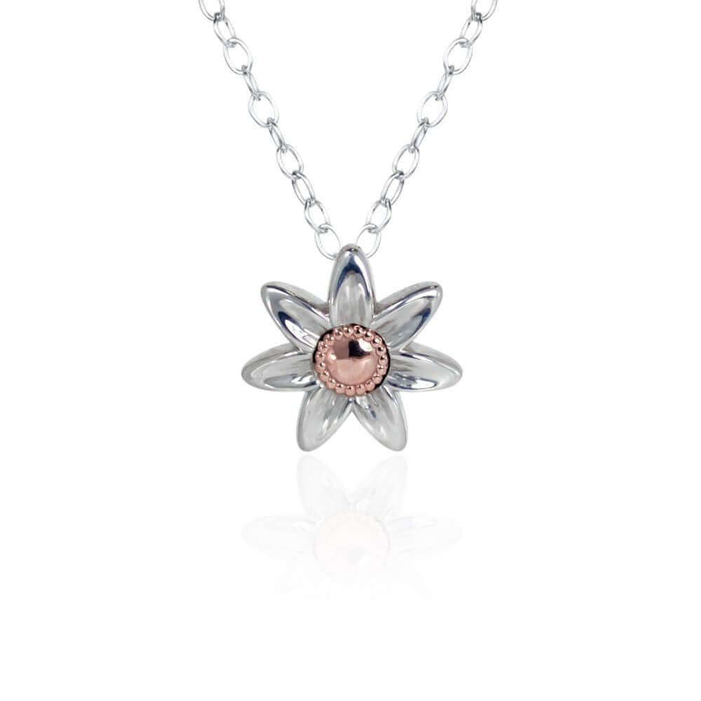 Silver & 9ct Rose Gold Daffodil