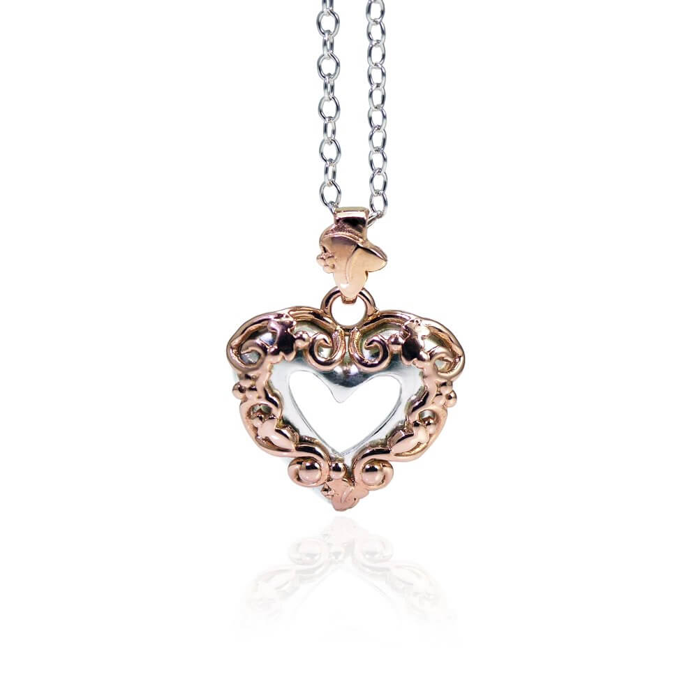 Silver & 9ct Rose Gold Enchanted Ivy Heart Pendant