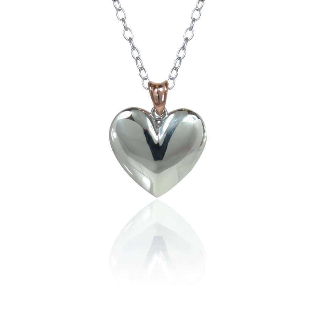 Silver & 9ct Rose Gold Heart