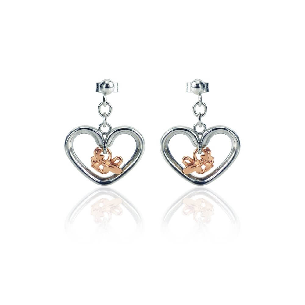 Silver & 9ct Rose Gold Open Heart Ivy Leaf Earrings