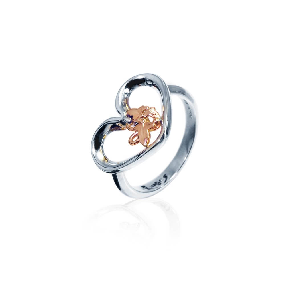 Silver & 9ct Rose Gold Open Heart Ivy Ring