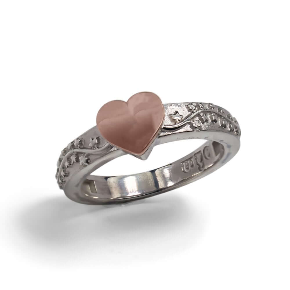 Silver & 9ct Rose Gold Trailing Heart Ring