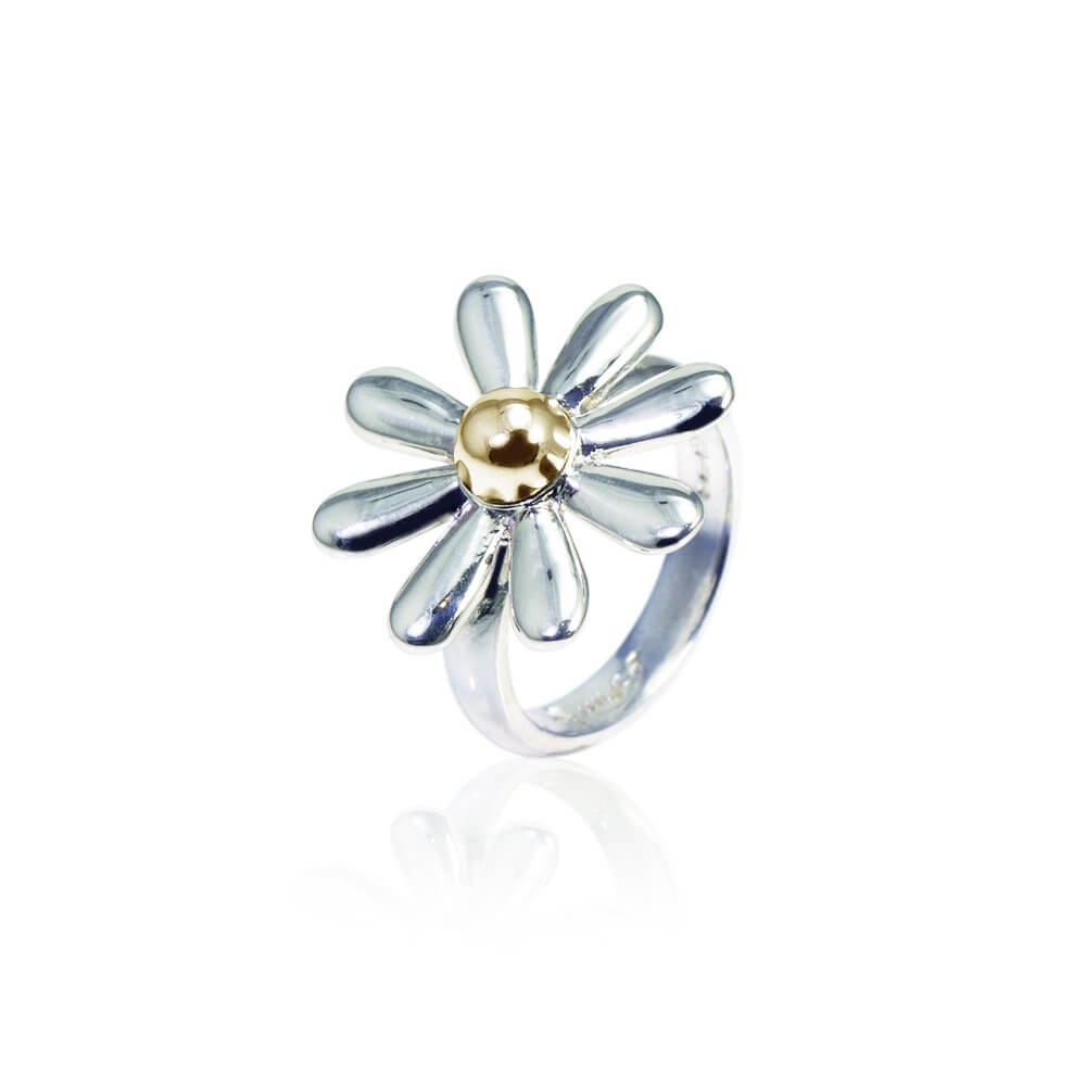 Silver & 9ct Yellow Gold Celtic Daisy Ring
