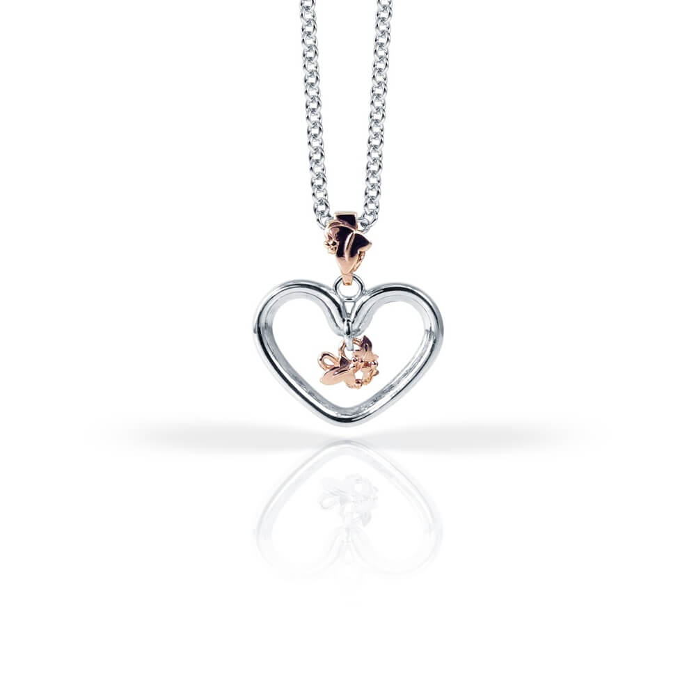Silver and 9ct Rose Gold Open Heart Ivy Pendant